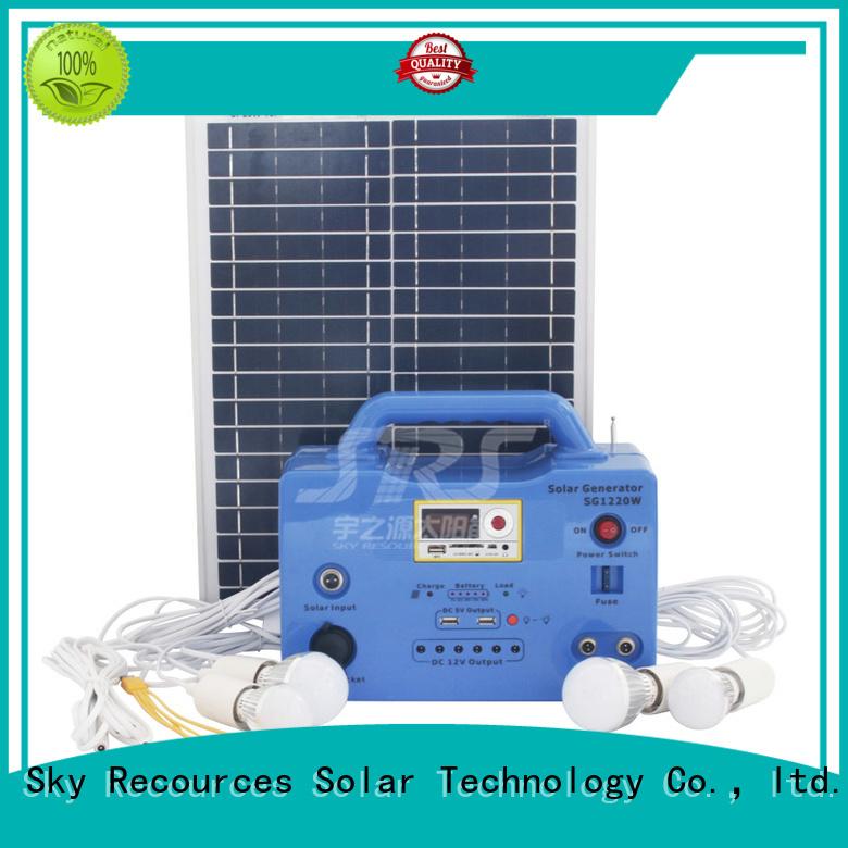 SRS portable solar lighting system application for house