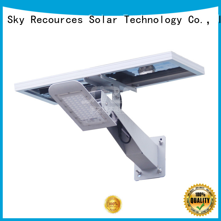 SRS waterproof solar street light with panel and battery configuration for garden