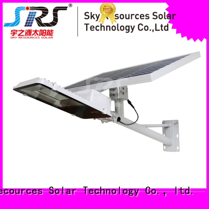 SRS bifacial solar street light with panel and battery diagram for school