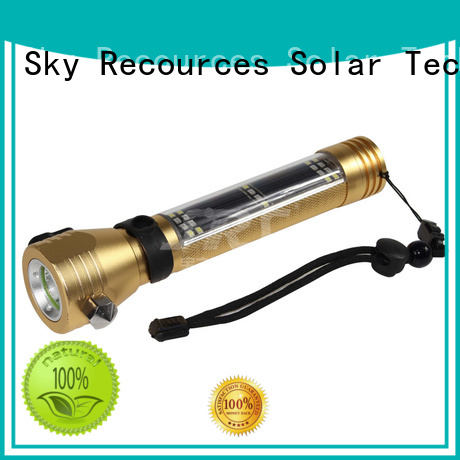 SRS high powered solar rechargeable led flashlight series for home use