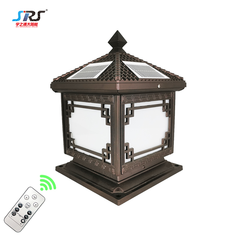 Custom Outdoor Pillar Lights Remote Control Solar Powered Lights YZY-ZT-N239