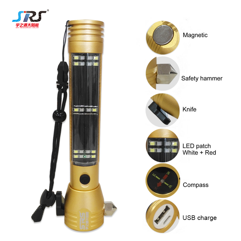 Custom Multifunctional Solar Flashlight Emergency Hammer Flashlight YZY-PY-07-004