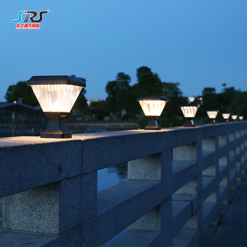 Modern low voltage outdoor solar pillar lights for gate home